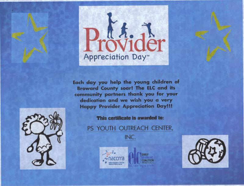 PS Youth recognized by The Early Learning Coalition-Provider Appreciation Week